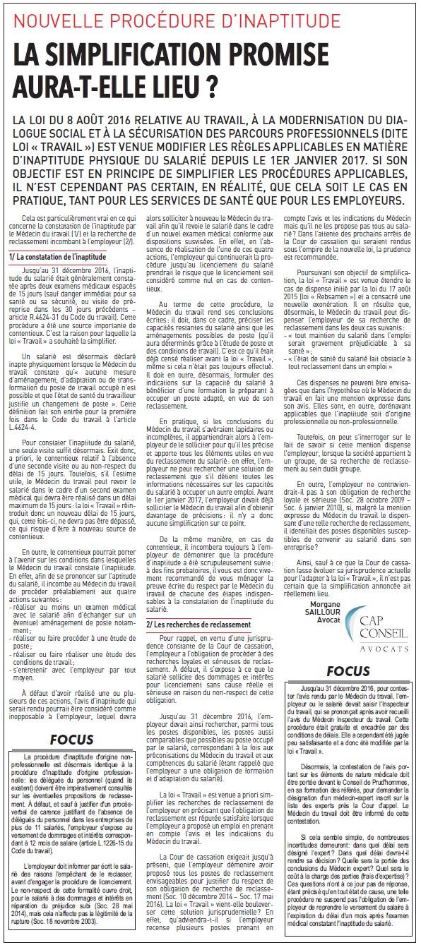 Inaptitude au travail et modernisation du dialogue social - Droit du travail - Morgane SAILLOUR - Cap Conseil Avocats