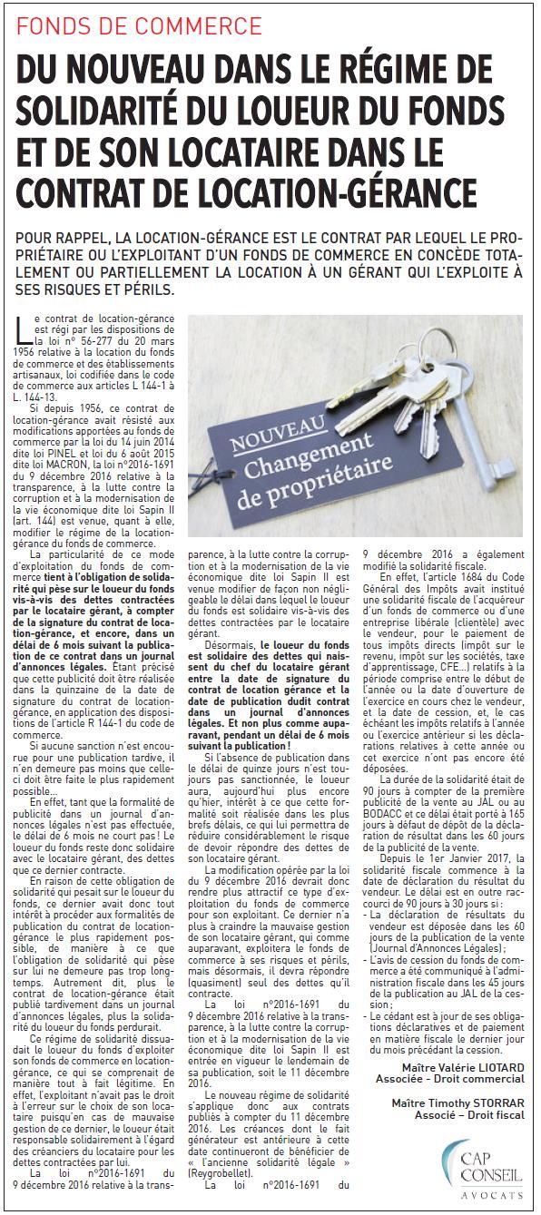 Fonds de commerce et solidarité location-gérance - Timothy STORRAR et Valérie LIOTARD - Cap Conseil Avocats